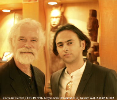 Gaurav Walia, Kenyan-born Conservationist & Managing Director of Guided Safaris Inc of San Francisco, with Filmmaker Dereck Joubert at the Premier of National Geographic Entertainment's 'The Last Lions'. Photographed by Guided Safaris Media, 2011.